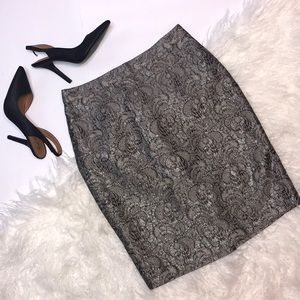 NWT Ann Taylor Silver Grey Lace Pencil Skirt